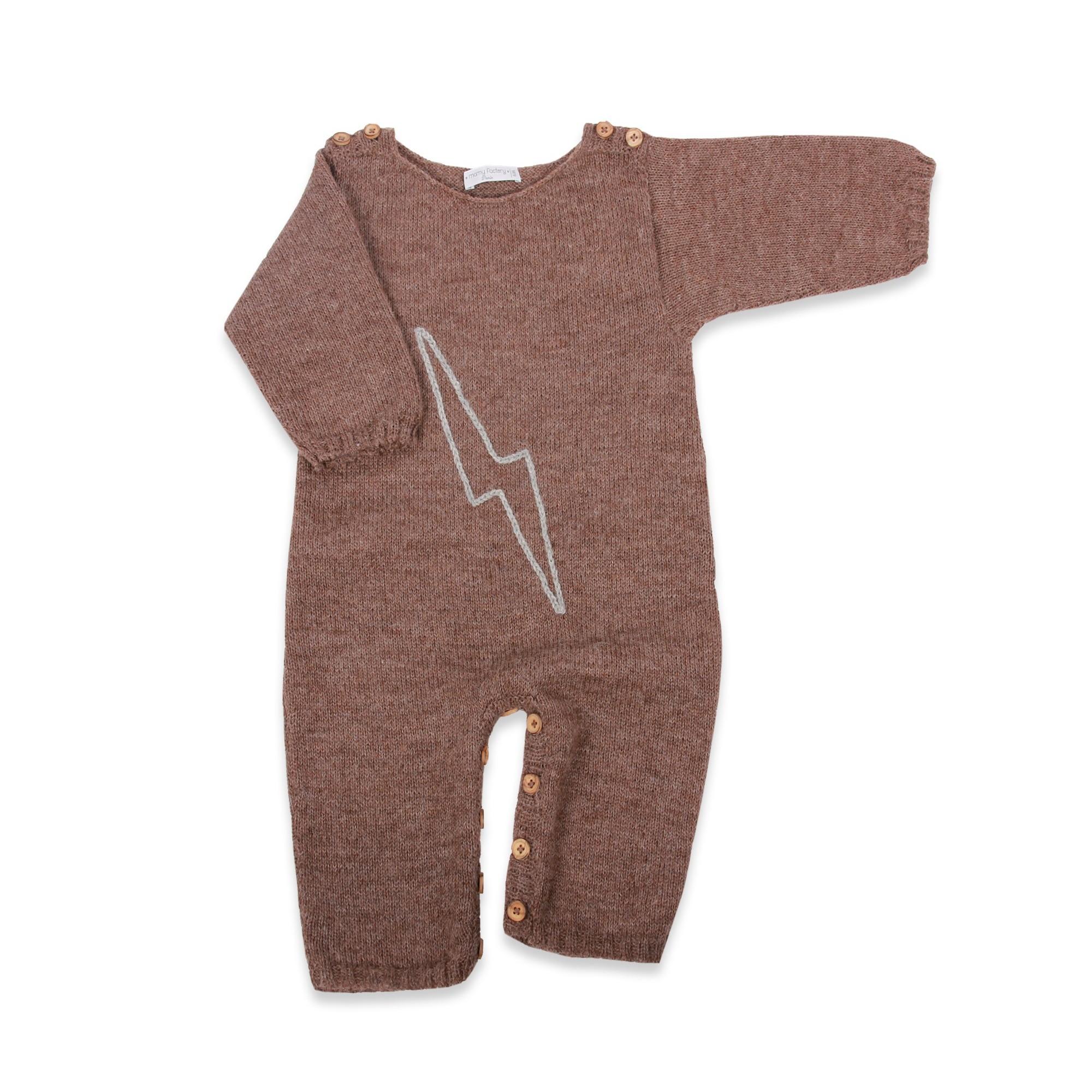 les tricots de mamy combinaison barbotteuse b b marron 100 laine d 39 alpaga tricot doux et. Black Bedroom Furniture Sets. Home Design Ideas
