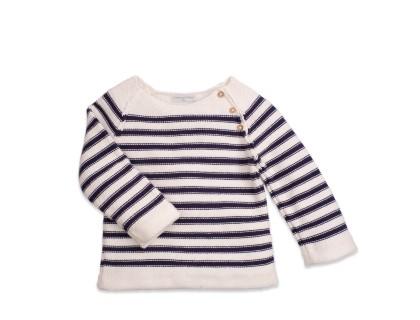Pull bébé style marin ecru et bleu marine avec détails boutons bois
