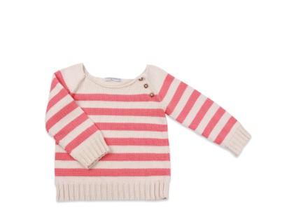 pull enfant été écru à rayures rose corail et finitions boutons bois