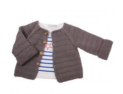 baby grey cardigan and long sleeved blue t-shirt