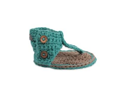 sandales chausson bébé tongues crochet vert turquoise spartiates fille