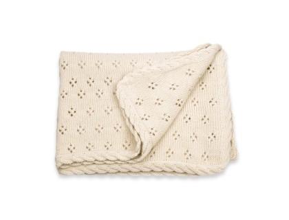 châle de bapteme plaid bébé ecru en alpaga couverture ajourée bordure tresse
