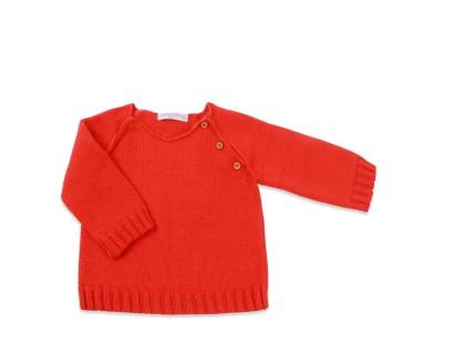 pull gaspard rouge coquelicot paprika raglan coton et cachemire avec boutons bois