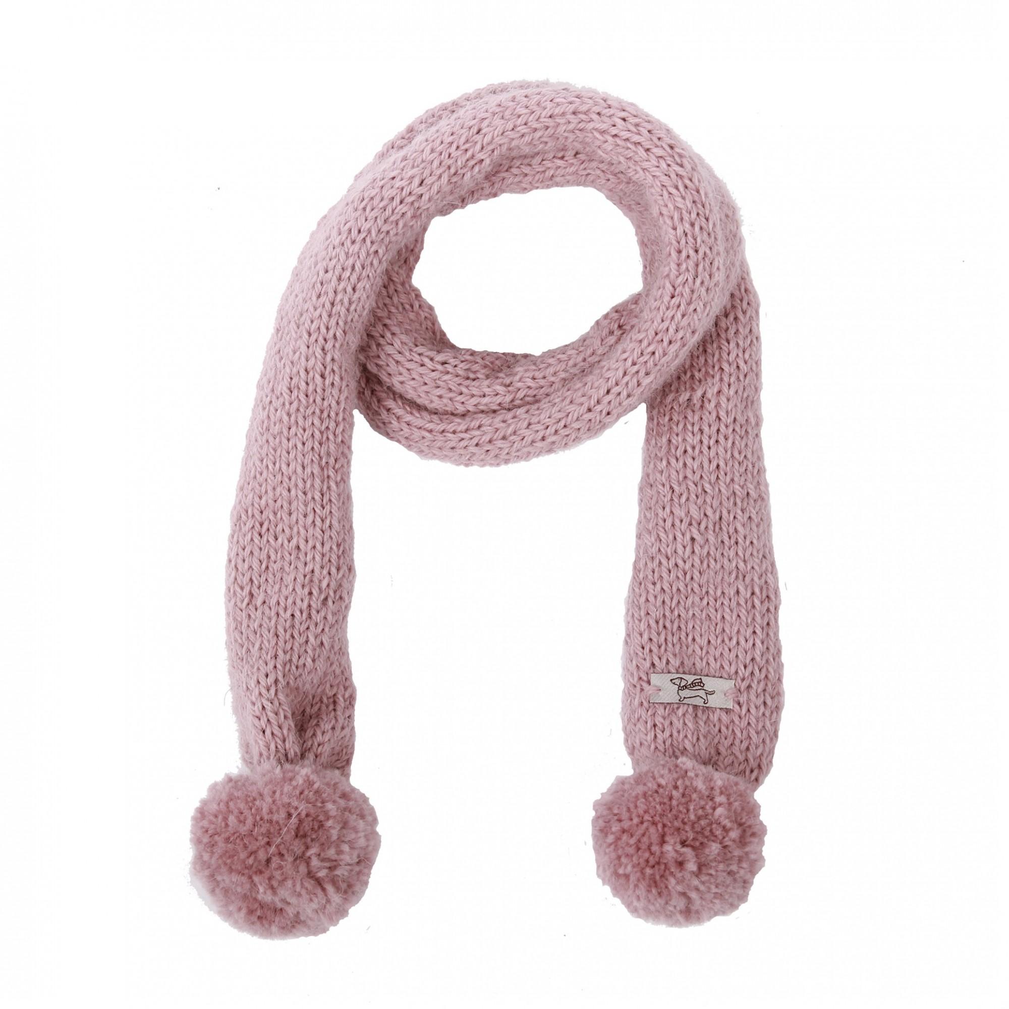 Echarpe mauve poudré tricotée à la main avec deux pompons. En laine et  alpaga, protection contre le froid. b6f609a0ada