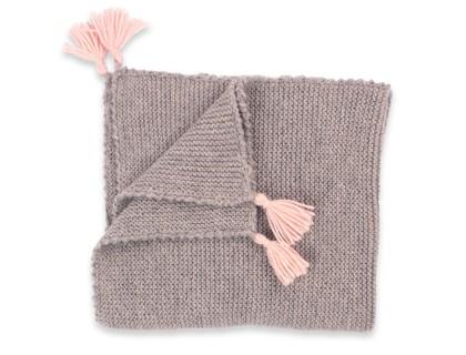 Couverture bébé grise et rose réalisée au point mousse en 100% alpaga