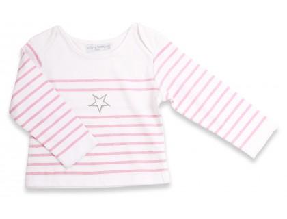T-shirt marinière bébé rayée rose avec étoile grise