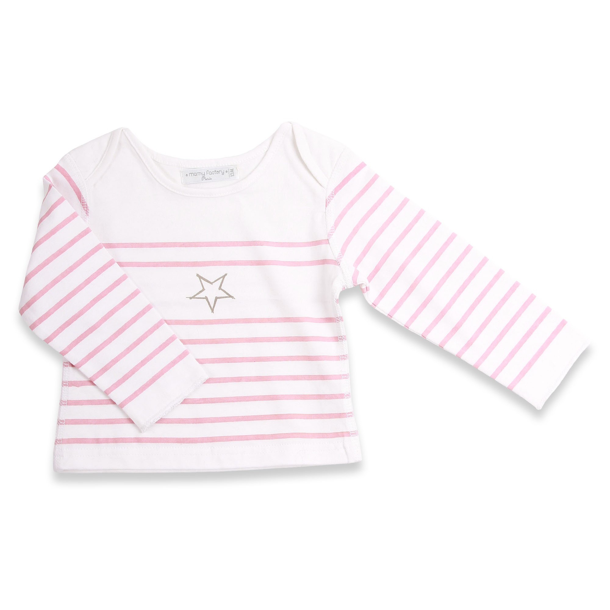 T-shirt marinière style for baby pink striped