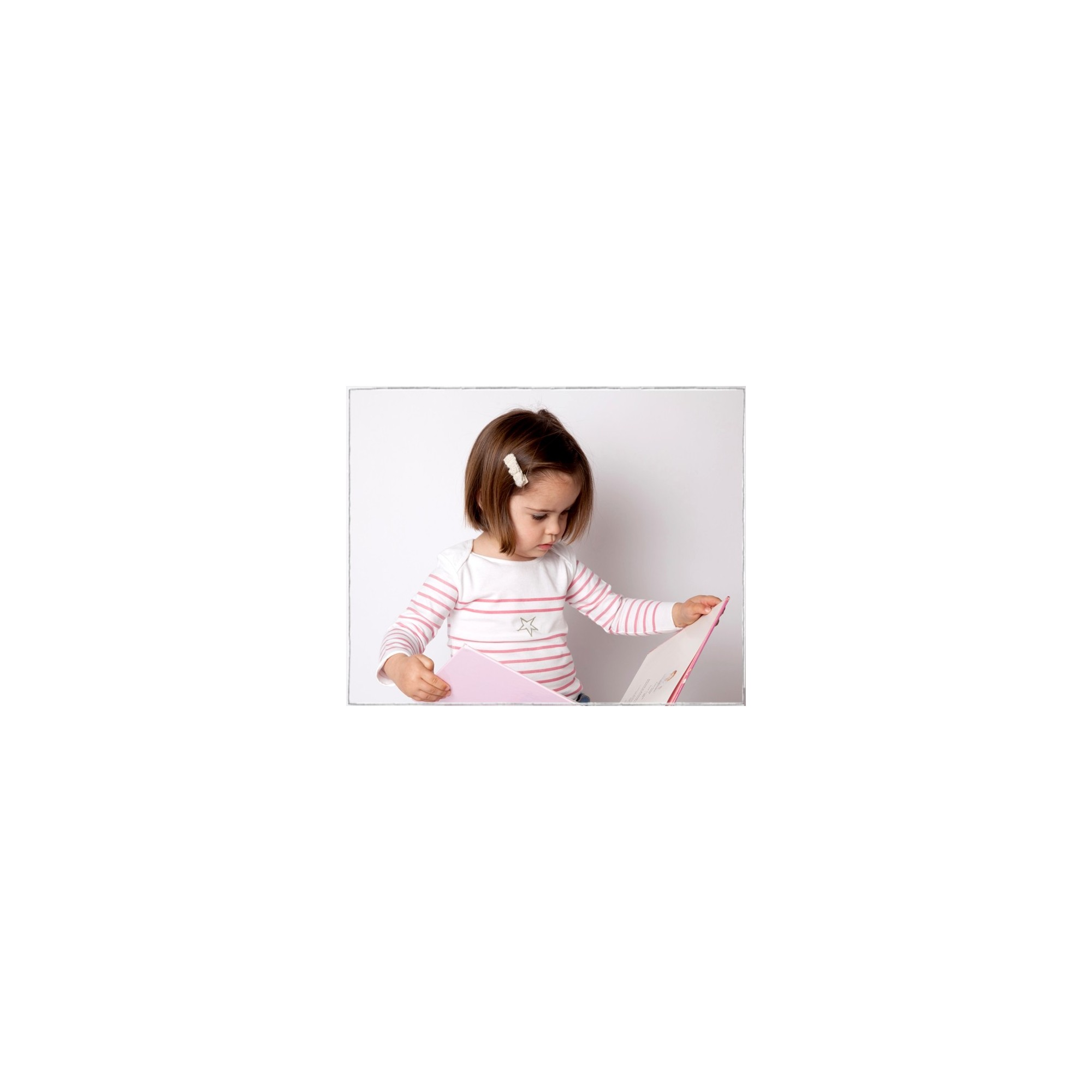 T-shirt marinière for baby girls pink stripes 100% cotton