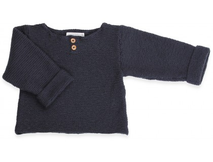 Navy blue baby sweater in moss stitch made from cotton and cachemire