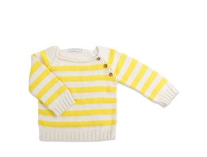 child's jumper pupil style natural whote and yelllow stripes