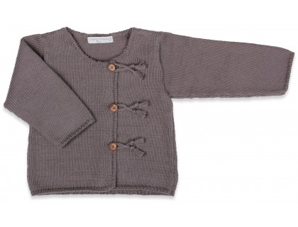 Dark grey baby cardigan knitted in stockinette stitch made from cotton and cashmere yarns