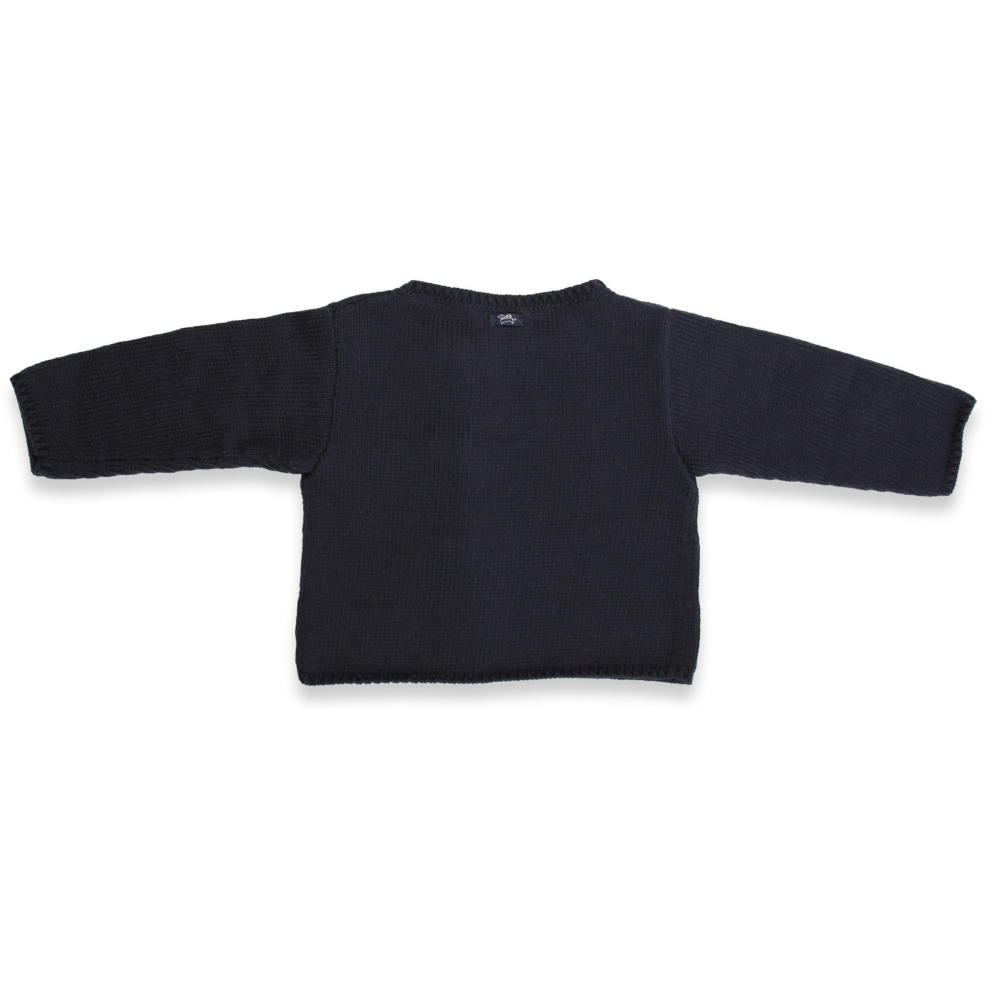 Gilet bébé bleu marine en coton et cachemire avec boutons bois tricoté en point jersey