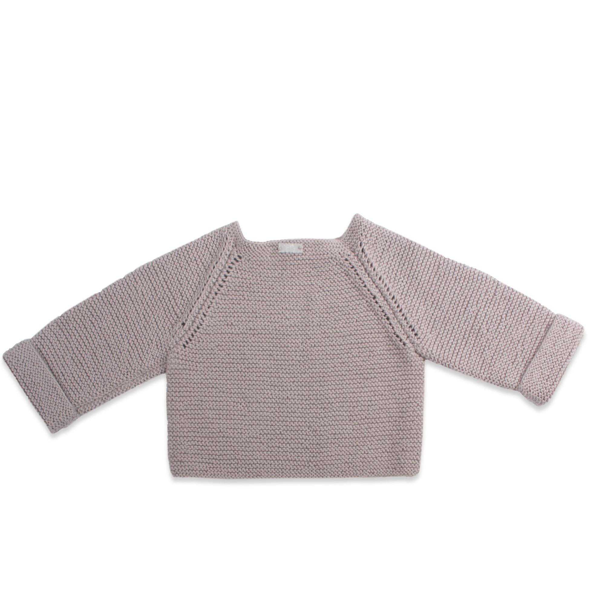 gilet fille et bébé tricoté main point mousse gris clair raglan et bouton bois