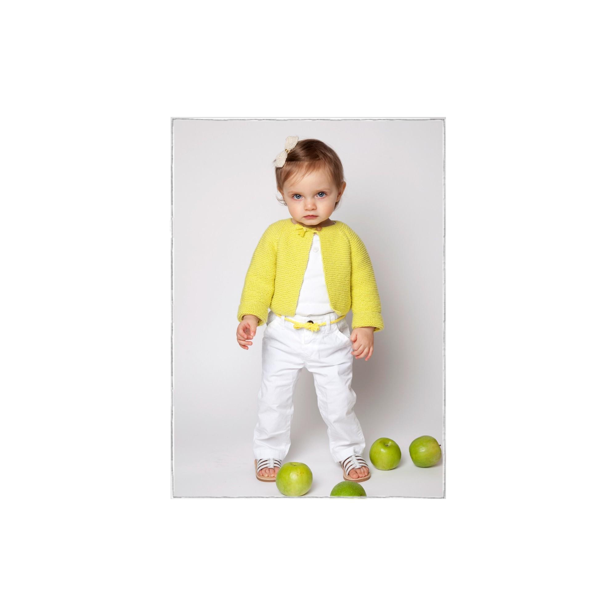 Gilet  Arlette porté (coloris jaune anis)