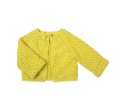 Girl's cardigan lime colour and garter stitch knitted with wooden button at plaited buttonhole
