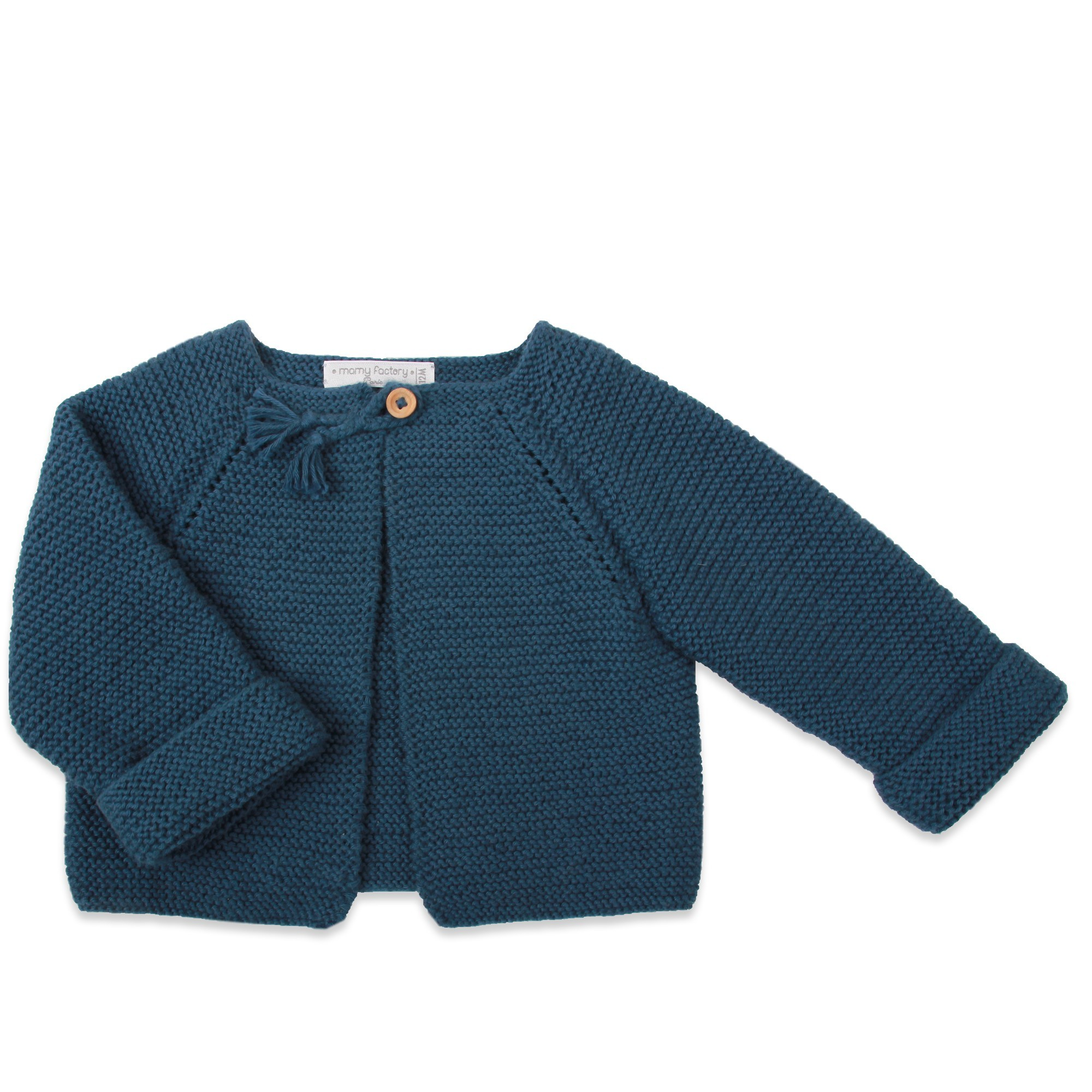 Extrêmement Gilet enfant, bleu canard.Tricoté en coton & cachemire par nos mamies. LZ25