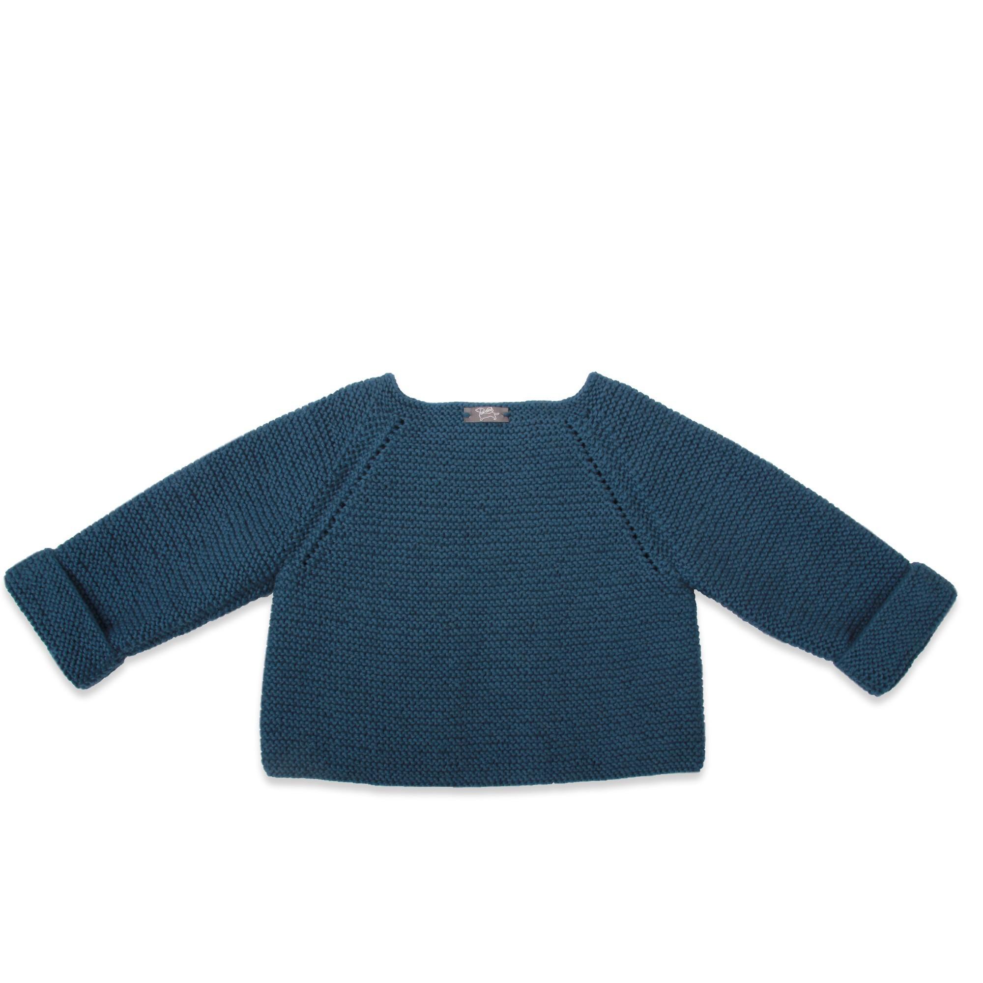 baby's cardigan blue garter stitch