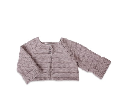 bolero style baby cardigan light grey plain stitch knitted