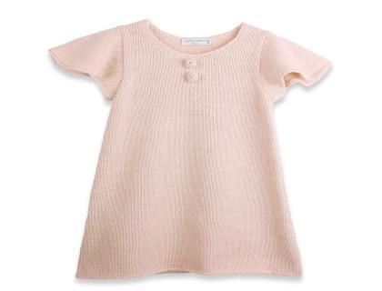 Robe bébé manches courtes papillon en laine d'alpaga rose ballerine
