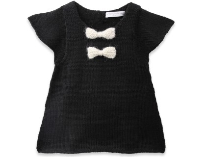 black and white baby girl dress made from alpaca wool