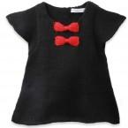 Robe bébé fille noire avec noeuds rouge en 100% laine d'alpaga