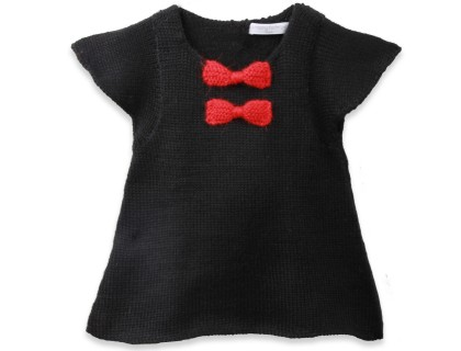 black and red baby girl dress made from alpaca wool
