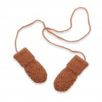 Baby mittens / gloves knitted in moss stitch made from wool and alpaca - Camel