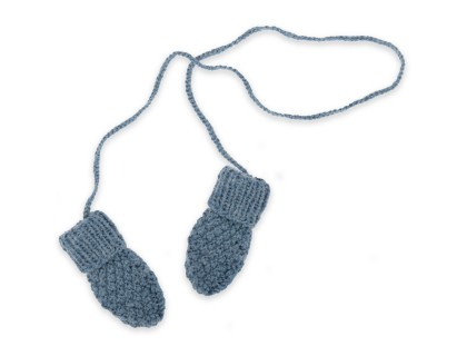 Kid mittens / gloves knitted in moss stitch made from wool and alpaca - Petrol blue