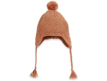 Bonnet bébé camel type péruvien en laine et alpaga tricoté au point de blé