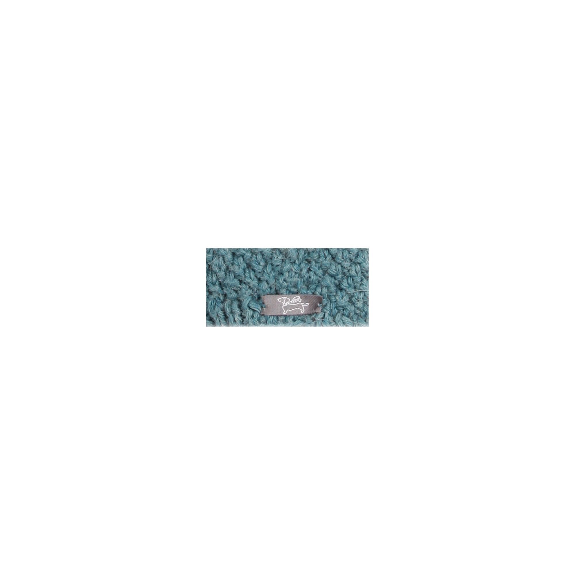 Bonnet bébé bleu pétrole type péruvien en laine et alpaga tricoté au point de blé -  Dos