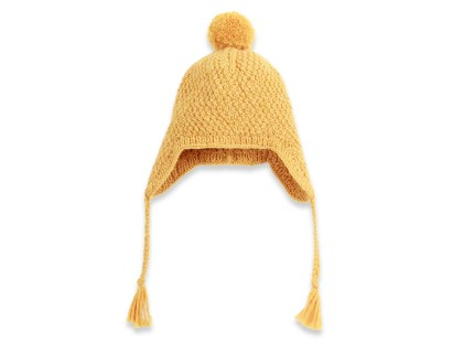 Yellow baby peruvian hat made from wool and alpaca