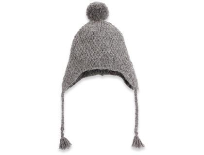 Bonnet bébé gris type péruvien en laine et alpaga tricoté au point de blé