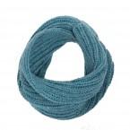écharpe snood enfant bleu tricoté en laine et alpaga très doux et chaud