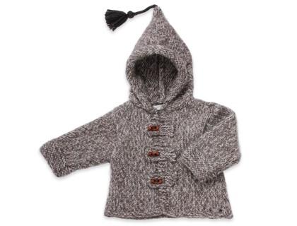 Baby hoody coat, flecked grey color