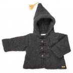 Dark grey baby coat knitted in garter stitch made from wool and alpaca