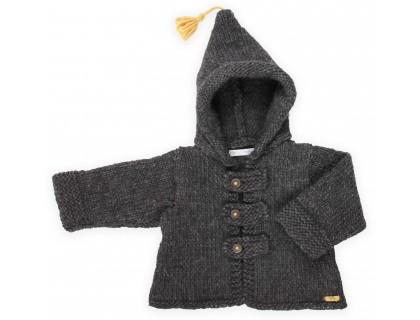 Manteau / veste bébé gris foncé, au point mousse, en laine et alpaga