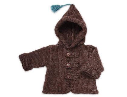 Baby hoody coat, brown color, made from wool and alpaca