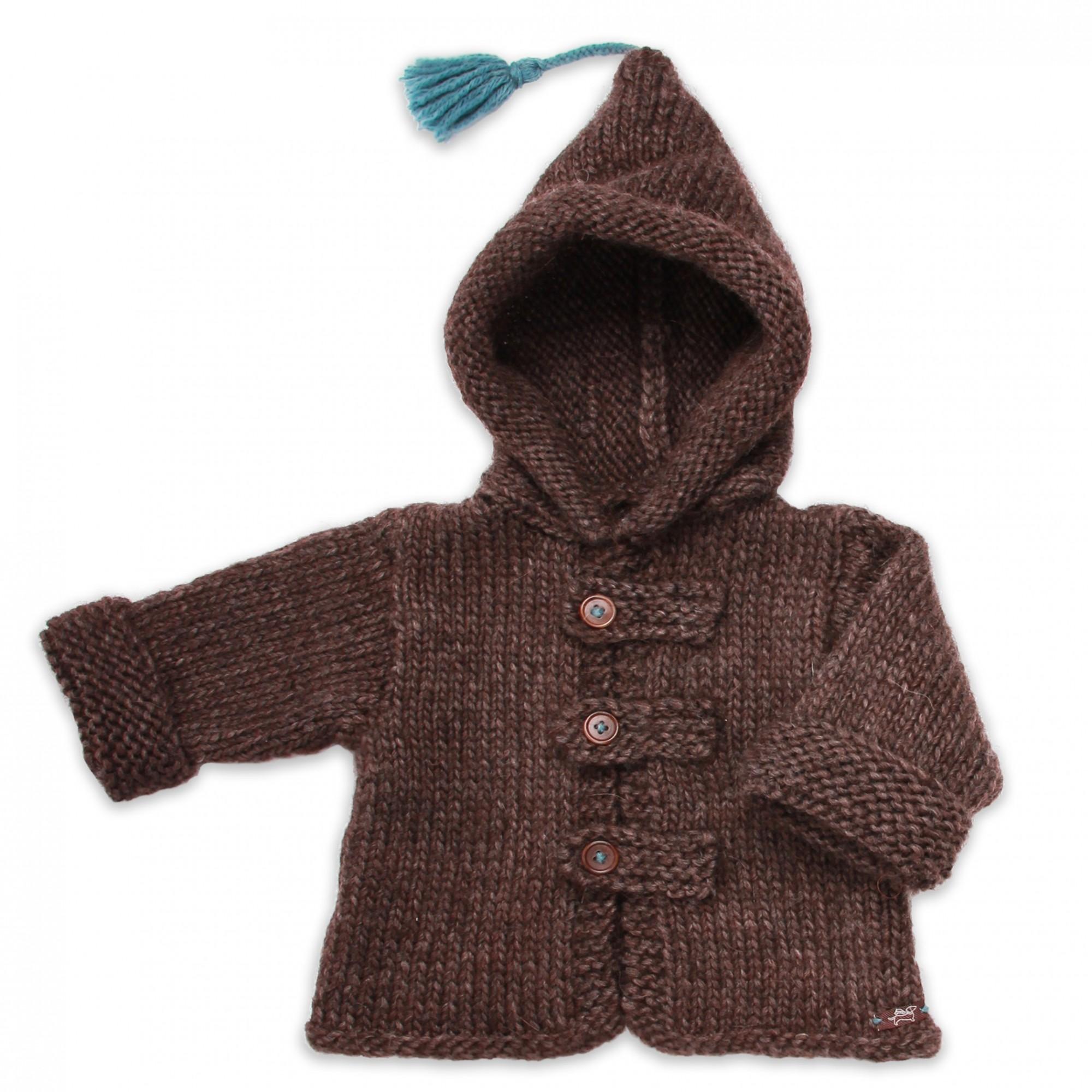 Les tricots de mamy - Manteau bébé enfant marron chocolat et bleu ... 5dd85850533c