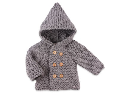 Manteau bébé gris en laine tricoté point mousse