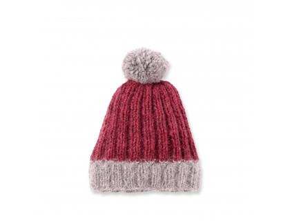 Bonnet bébé rose framboise et gris en laine merinos et angora avec pompon