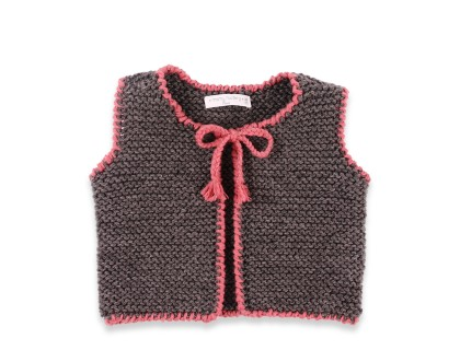 Baby sleevless cardigan grey and pink color