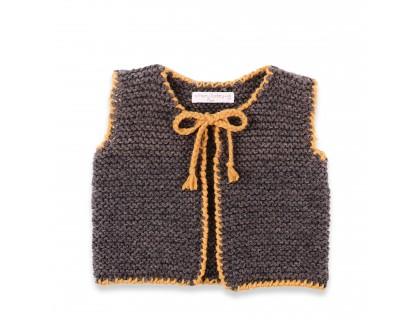 Gilet bébé gris anthracite et jaune en 100% laine, sans manche. Pour filles et graçons