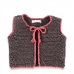 Baby sleevless cardigan grey and pink color made from 100% wool