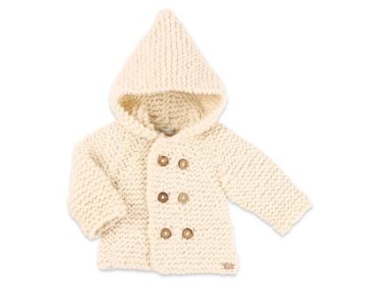 Manteau bébé écru en laine tricoté point mousse