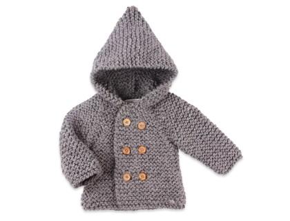 Manteau bébé gris en laine tricoté point mousse