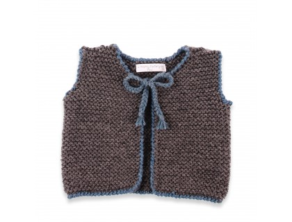 Baby sleevless cardigan grey and blue color. 100% wool