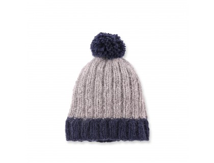 Baby cap made from merino wool and angora - grey and navy blue colors