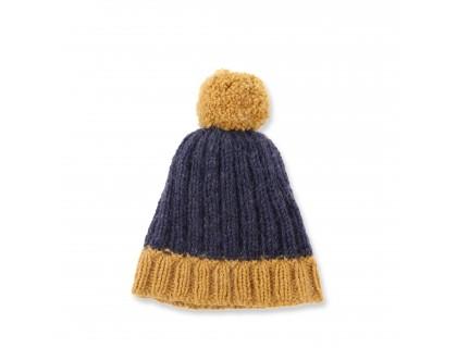Bonnet bébé bleu marine et cumin en laine et angora avec pompon