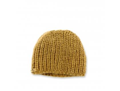 Bonnet bébé vert cumin en laine et angora tricoté en côtes perlées