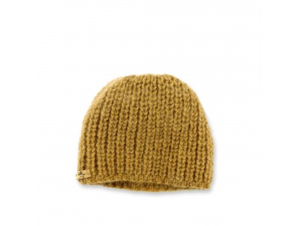 Baby cap made from merino wool and angora - cumin green color. Handknitted in ribs.